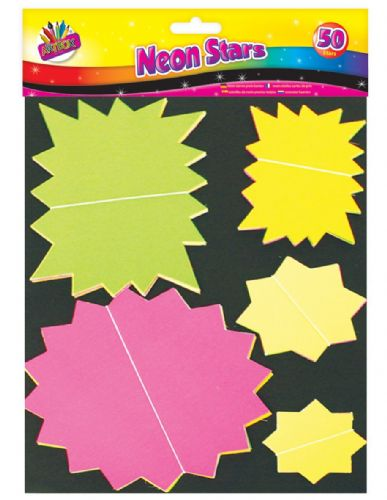 50 Assorted Fluorescent Stars